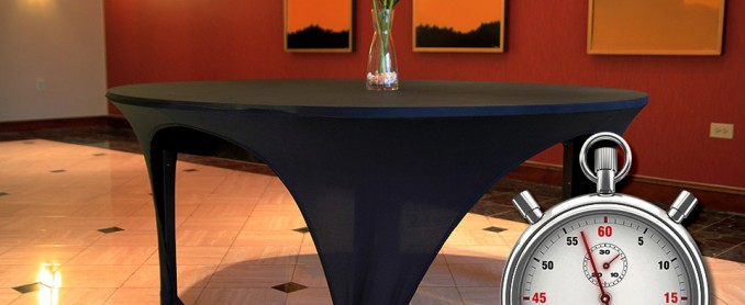 Flexible fabrics allow variety. No longer is a floor length linen needed for a seated event.